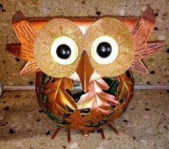 OWL Metal Autumn Tea light Holder Candle Leaves Orange Round - $19.79