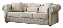 "Homelegance Savonburg 99"" Fabric Chesterfield Sofa, Light Gray - $1,669.00"