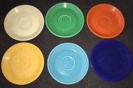 Vintage Fiesta 6 Original Colors Saucers Homer Laughlin HLCo USA RARE HTF - $29.70