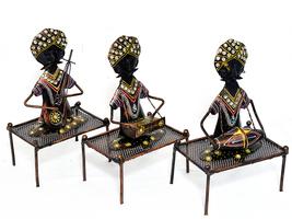 Metal Statue Tribal Musicians Figurine Set of 3 Pcs Home Decorative Show... - $86.95