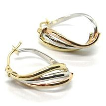 Earrings Circle Gold 750 18K, White Yellow Rose, Ovals, Wave, Wavy, 2.2 CM image 3