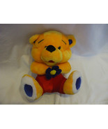 Yellow Teddy Bear Red Pants & Blue Flower 11 Inches Tall - $17.82