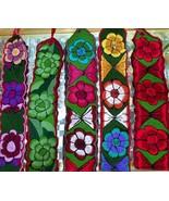 Mexican hand EMBROIDERED Folk art multi color floral belt Boho cinto sas... - $17.77