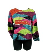 SIGRID OLSEN Petite Large PL Silk Blend Patchwork Sweater Top - $16.99