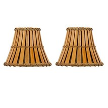 Upgradelights Set of 2 Bamboo Style 5 Inch Chandelier Lamp Shades 3x5x4.5