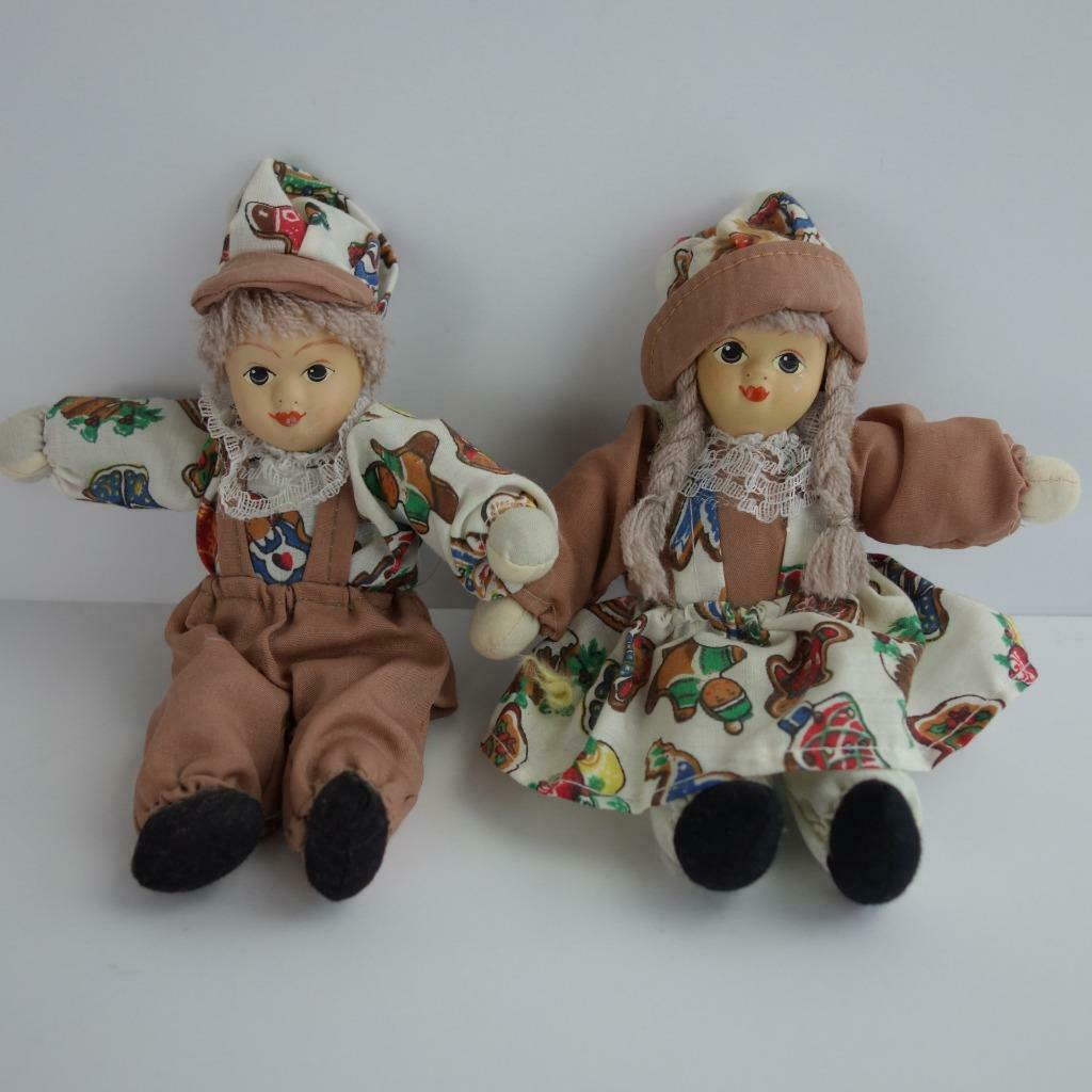 Primary image for Christmas Gingerbread Boy and Girl Small Dolls Bisque Porcelain Head 6 1/2""