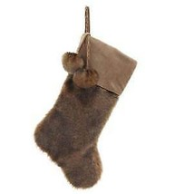 Tan and Brown Fur With Pom Poms Stocking w - $17.99