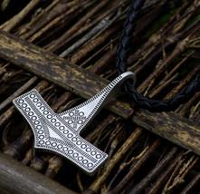 Thor's Hammer Mjolnir Pendant Necklace Bornholm Replica Nordic Zinc Allo... - $9.99