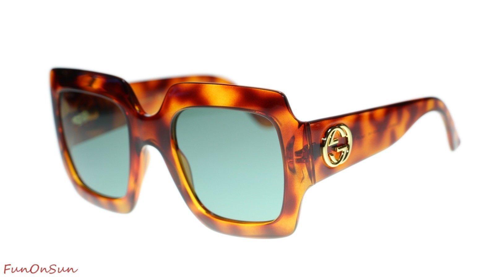 bd47aa1a55a 10. 10. Previous. Gucci Women s Sunglasses GG0053S 002 Havana Green Lens  Square 54mm
