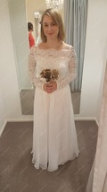 Off The Shoulder Long Sleeve A-Line Chiffon Wedding Dress With Lace - $220.00