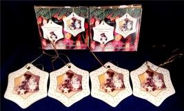 Boyds Bear Holiday Bears Porcelain Ornaments 2003 New In Box Set Of 4 Free Ship - $15.00