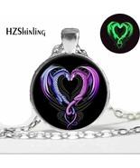 Glowing Necklace Pendant Dragon,Glow in the DARK,art dragon heart - $9.85
