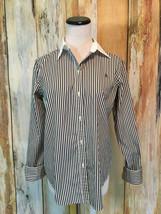 Lauren Ralph Lauren Button Down Shirt Stripe Black White Career Cotton s... - $14.89