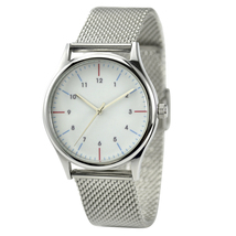 Minimalist Watch with Red and Blue Stripe with ... - $55.00