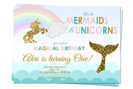 Mermaid and Unicorn birthday invitation | Unicorns and Mermaids invitati... - $8.99