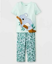 Girls Short Sleeve Shirt And Pants Pajama Set Cat & Jack Size 2T 4T Gree... - $7.99