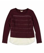 Maison Jules Womens Cutout Layered Look Knit Top Small S Wine Red $69 - $18.00