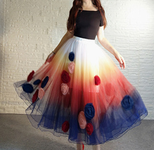 Women Flower Embroidery Long Tulle Skirt Outfit Custom Plus Size Princess Outfit image 1