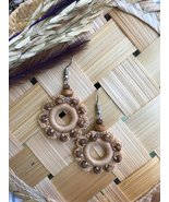 Tribal flower dangle earrings crocheted from cotton threads, Vintage jew... - $16.99