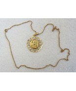 Vintage 18K. Solid Gold Open Work Large Medal Virgin Mary & 18K Chain - ... - $1,027.62