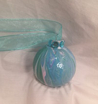 Blue Green White Pink Purple Swirl Marble Painted Glass Christmas Ornament  - $9.99