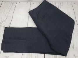 Gap Dress Pants Sz 12 Women Blue Black Linen Rayon Blend Flat Front Casual - $12.20