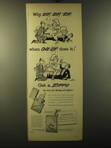 1950 Zippo Cigarette Lighter Ad - cartoon by Sam Cobean - $14.99