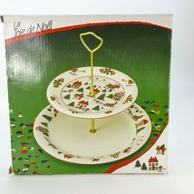 Vintage Two Tier Joy of Christmas Serving Dish Tray Plate Holiday Villag... - $24.18