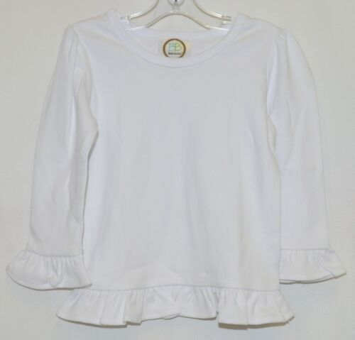 Blanks Boutique White Long Sleeve Girls Cotton Ruffle Shirt Size 18M