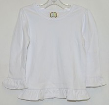 Blanks Boutique White Long Sleeve Girls Cotton Ruffle Shirt Size 18M image 1