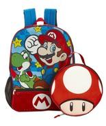 Nintendo Super Mario Bros Backpack with Lunch Bag Box Yoshi Mushroom - £15.50 GBP