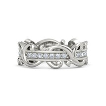 Solid 925 Silver Simply Classic Floral Vine White Diamond Womens Engagem... - $199.99