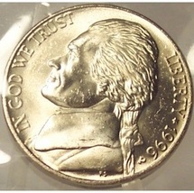 1996-P Jefferson Nickel MS65 FULL STEPS In the Cello #0194 - $5.49