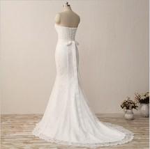 Vintage Ivory  Lace Wedding Dress Mermaid Belt Bridal Gowns Off Shoulder... - $85.00