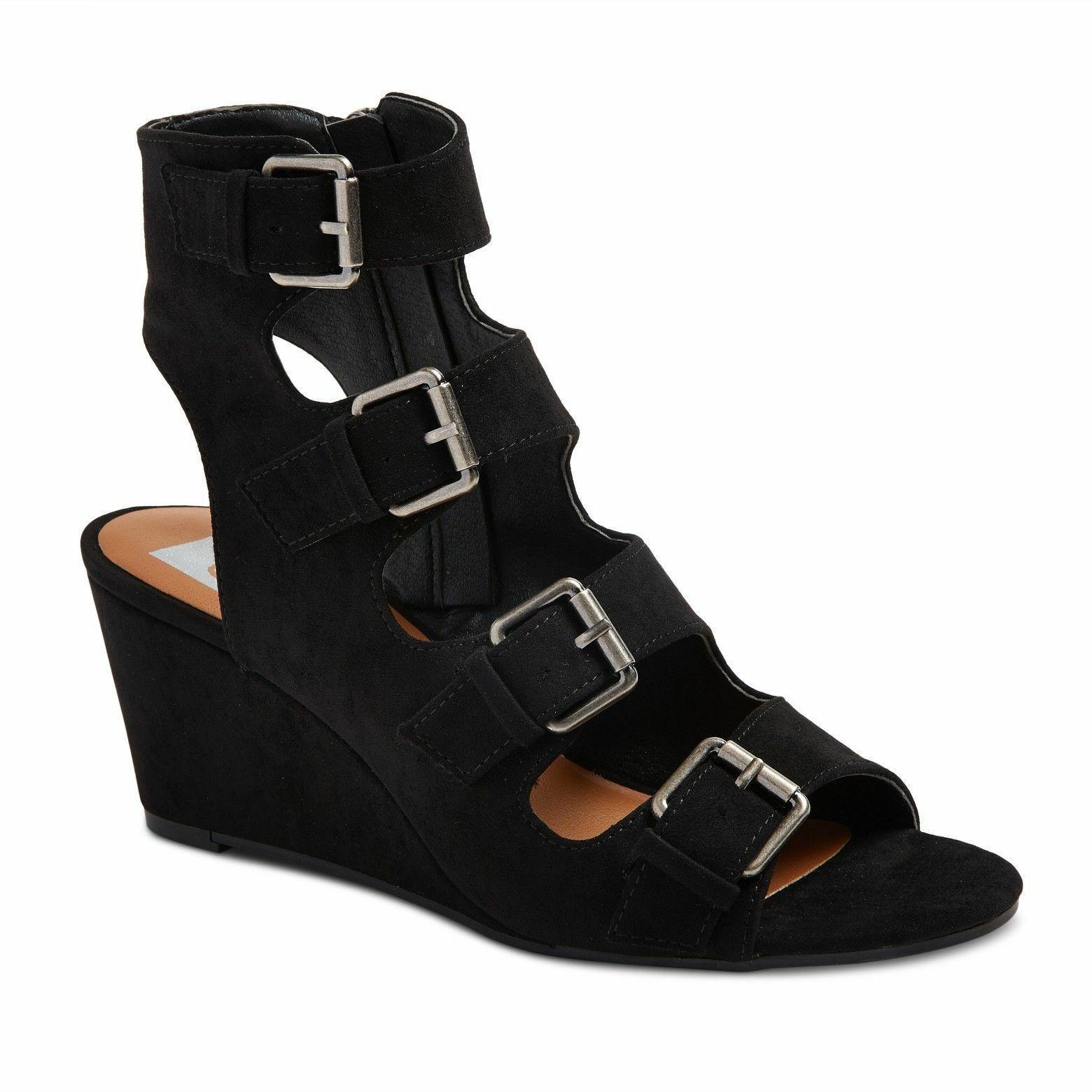 New DV Dolce Vita Black LeeAnn Buckle Wedge Gladiator Open Toe Sandals