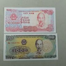 Souvenir Dong Bank Notes Denominations 1000 & 500 1988 - $10.99
