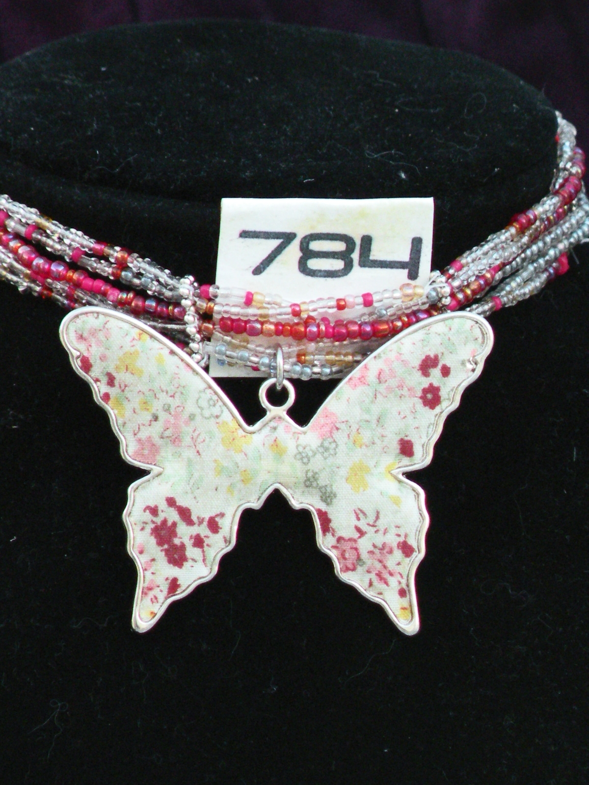 White and pink speckled Butterfly Choker