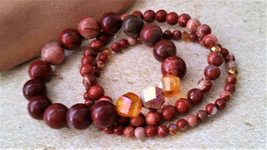 Red Apple and White Lace Jasper Stone Bead Bracelet Set/ Brick Red Brace... - $41.00