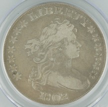 1802 US Draped Bust Dollar $1 Graded by PCGS Genuine, Narrow Normal Date KM#32 - $2,870.01