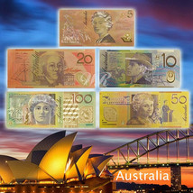 WR Australia Banknote Set 5/10/20/50/100 AUD Color Gold Banknote Collect... - $8.99