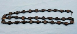 """Vintage Long Necklace w/ Brown Copper Sparkles Glass Beads 36"""" #486 - $39.00"""
