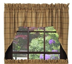 Olivia's Heartland primitive country Tan BURLAP black CHECK window SWAG curtains - $36.95