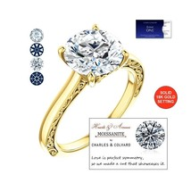 3.00 Carat (9mm) Forever One Moissanite Hearts & Arrows Ring 18K Charles... - $2,145.00