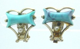 Blue Thermoset Faux Pearl Gold Tone Clip-On Earrings Vintage - $19.79