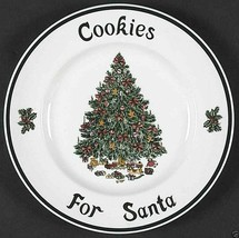 "Cookies For Santa Plate White Christmas Tree Festive Victorian Christmas 8.5"" - $31.68"
