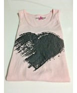 Girl's Designer Pink Ribbed Tank Top With Black Abstract Heart (12) - $11.30