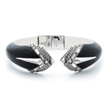 Alexis Bittar Lucite Brilliant Cut Crystal Brake Hinged Bracelet - $175.00