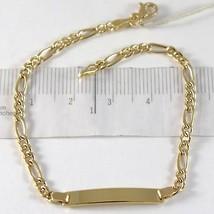 Bracelet En Or Jaune 750 18K, Gourmette Et Ovales, Plaque Pour Gravure, 18 Cm - $346.88