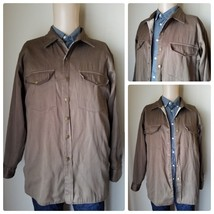 Haband Men's Jacket Brown Button Up Collared Flannel Lined Fall Coat Size M - $13.01