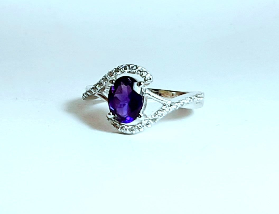 925 Sterling Silver Natural Amethyst And Cz Gemstone Artistic Design Handmade Wo image 3